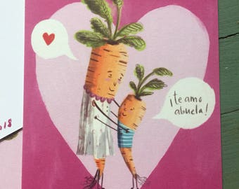 Te Amo Abuela I Love You Grandmother Valentine's Post Card With Carrots