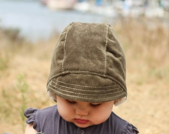 8c9dc393 Baby Boy Aviator Hat. Toddler Winter Bonnet lined with Sherpa Fleece. Olive  Green Corduroy Baby Aviator Hat. Toddler Boy Winter Hat.