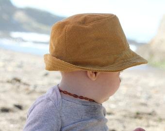 604ba7edb3fe8 Mustard Corduroy Baby Fedora Sun Hat for Boys and Girls