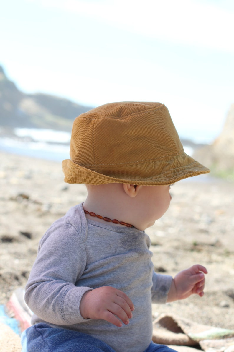 33197348f22 Mustard Corduroy Baby Fedora Sun Hat for Boys and Girls
