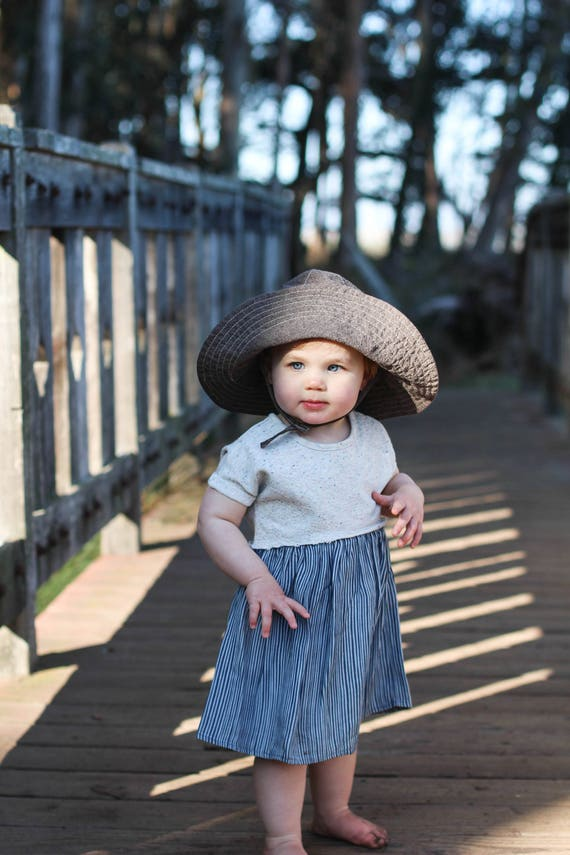 22367c2418b Brown Linen Wide Brim Sun Hat for Babies and Toddlers