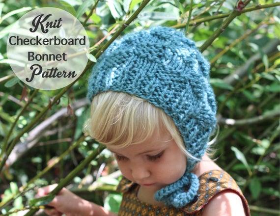 Knit Baby Bonnet Pattern Checkerboard Knit Etsy