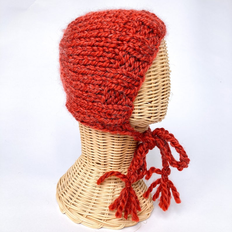 Knit Red Baby Bonnet. Holiday Hat for Baby. Babies first image 0