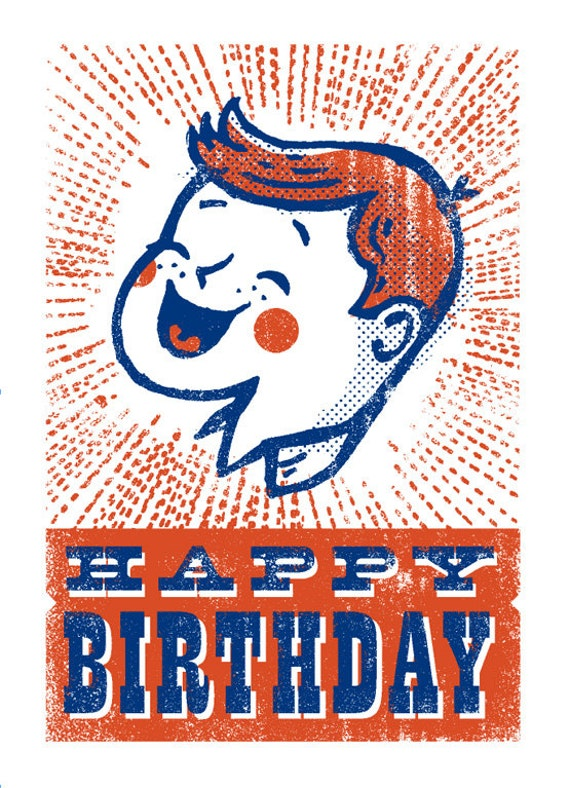 Blank Screen-Print Vintage Birthday Card 1950s Birthday Circus