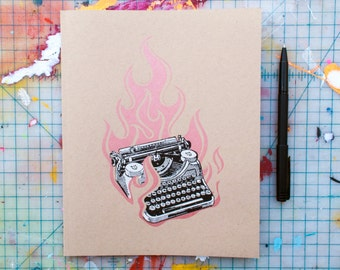 Flaming Typewriter (JTY-01) Screen Printed Journal with Lined Pages Handmade Metallic Copper Notebook Collage Inspired Rocker
