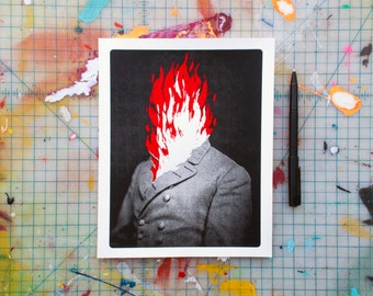 Man on Fire (JFL-01) Screen Printed Journal with Lined Pages Handmade General Lee Modern Collage Style Red Black and White