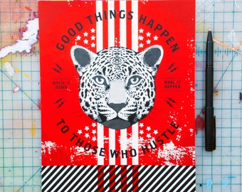 """Good Things Happen to Those Who Hustle - (JHUS-01) Lined 8x10"""" Cheetah Journal Notebook"""