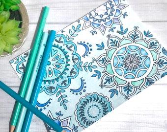 Mandala Greeting Card Download and Print Coloring Page