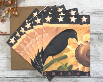 Black Crow Notecards Stationery Greeting Cards