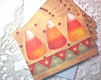 Candy Corn Note Cards, Set of 6 SALE