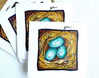 Birds Nest Mini Cards, Set of Four