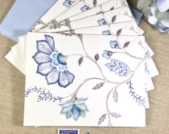 Blue Jacobean Note Cards, Set of 6