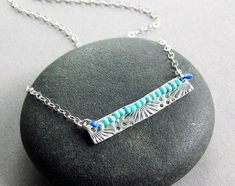 Turquoise Summer Bloom Silver Bar Necklace, Hand Stamped Sterling Silver