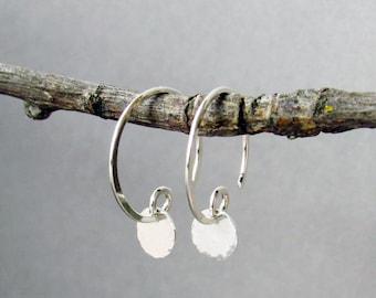 Tiny Silver Coin Earrings, Minimalist Sterling Silver Earrings