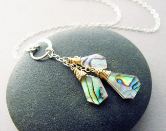 Modern Abalone Y-Necklace, 14kt Gold Fill & Sterling Silver