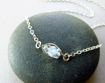 Dainty Rainbow Moonstone Layering Necklace, Sterling Silver