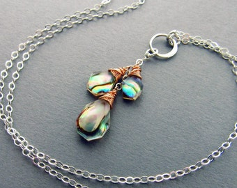 Modern Abalone Y-Necklace, Rose Gold & Sterling Silver