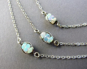 Dainty Opal Layering Necklace, Sterling Silver