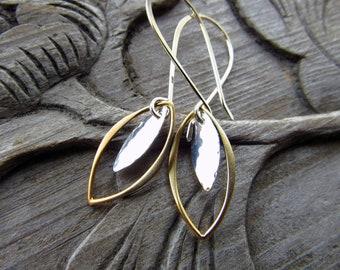 Gold and Silver Leaf Earrings, Gift for Women, Mixed Metal Earrings, Everyday Earrings, Sterling Silver Earrings