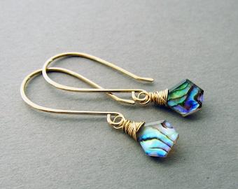Geometric Abalone Drop Earrings, 14kt Gold Fill