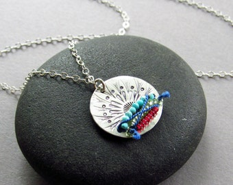 Summer Vibes Pendant Necklace, Hand Stamped Sterling Silver