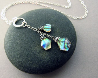 Modern Abalone Y-Necklace, Sterling Silver