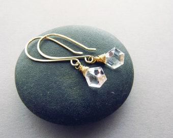 Glam Geometric Crystal Quartz Drop Earrings, 14kt Gold Fill