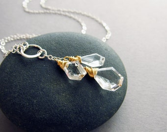 Glam Crystal Quartz Y-Necklace, 14kt Gold Fill & Sterling Silver