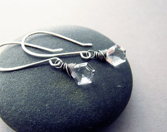 Glam Geometric Crystal Quartz Drop Earrings, Sterling Silver, Gift for Her