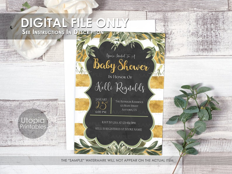 Printable Gold Greenery Baby Shower Invitation Gender Neutral image 0