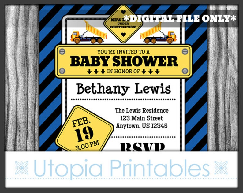 Blue Construction Baby Shower Invitation New Baby Party Under image 0