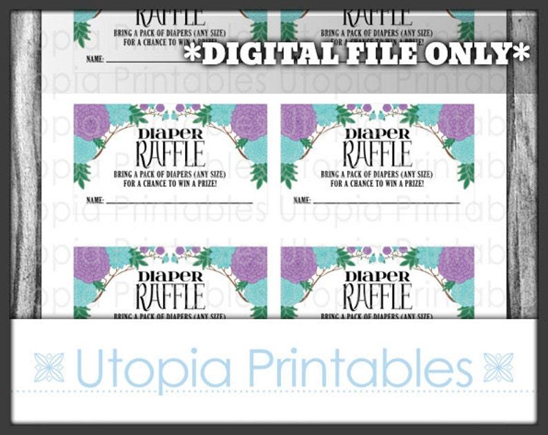 Diaper Raffle Card Ticket Insert Baby Shower Teal Purple image 0