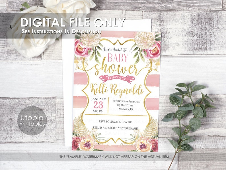 Printable Blush Pink Gold Baby Shower Invitation Watercolor image 0