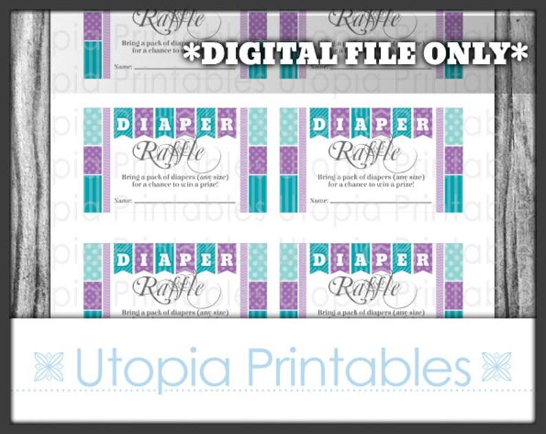 Teal Purple Diaper Raffle Ticket Card Insert Baby Shower image 0