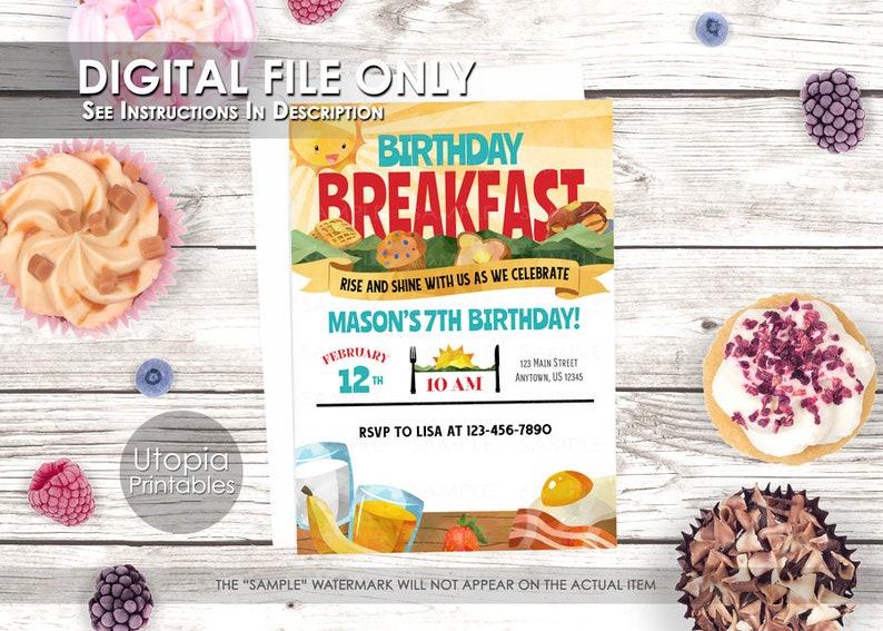 Birthday Breakfast Invitation Morning Sunrise Food Theme image 0