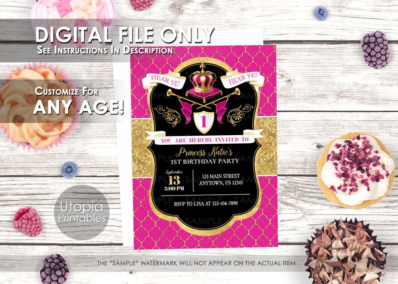 Princess Birthday Invitation Royal Royalty Theme Crown Queen image 0