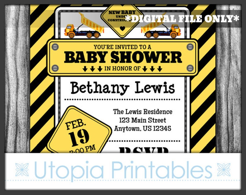 Yellow Construction Baby Shower Invitation Party Under image 0
