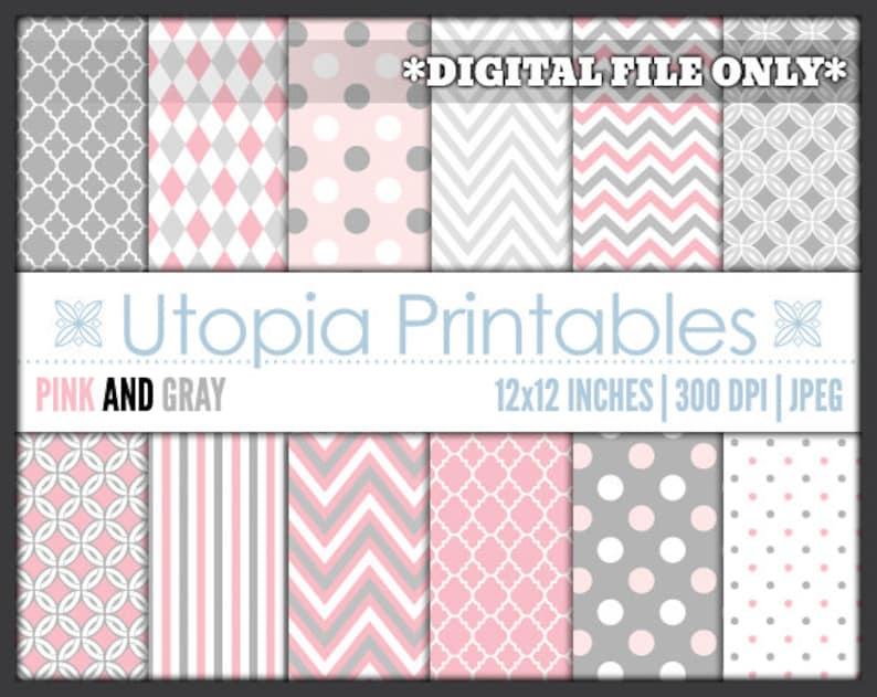 Pink And Gray Digital Paper Pack Set Polkadot Chevron Striped image 0