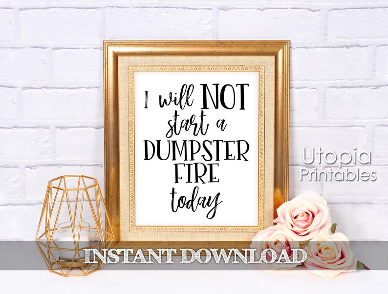 I Will Not Start A Dumpster Fire Today Printable Funny Quote image 0