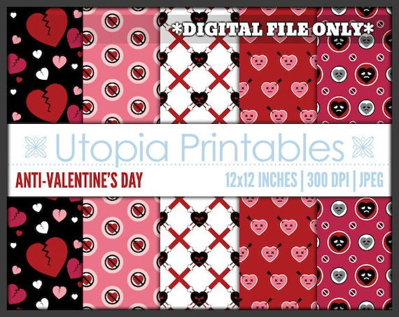 AntiValentine's Day Digital Paper Sad Hearts Creepy Cute Theme Awesome Anti Valentines Day Quotes Sayings