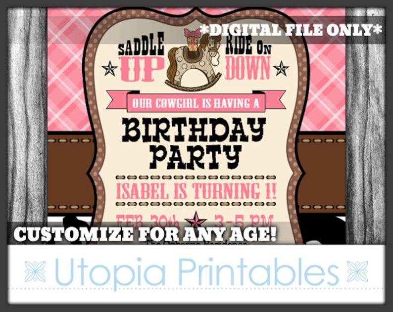 Cowgirl Theme Girl 1st Birthday Invitation Cute Rocking Horse image 0