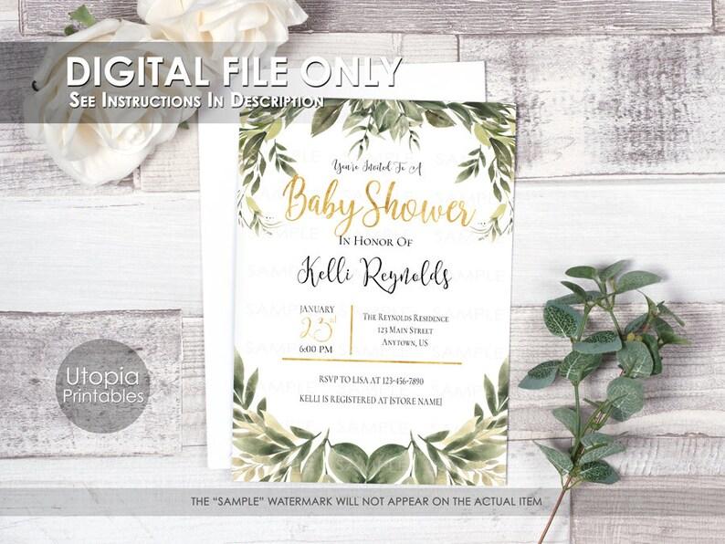 Printable Greenery Baby Shower Invitation Gender Neutral image 0