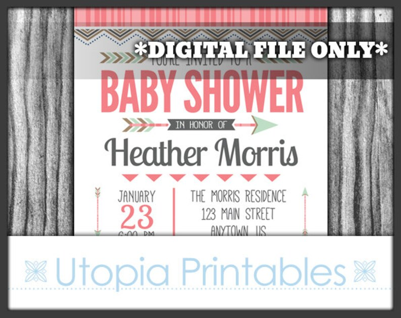 Tribal Baby Shower Invitation Girl Pink Mint Green Brown Gray image 0