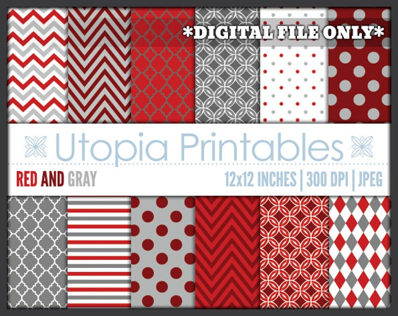 Red And Gray Digital Paper Pack Set Polkadot Chevron Striped image 0