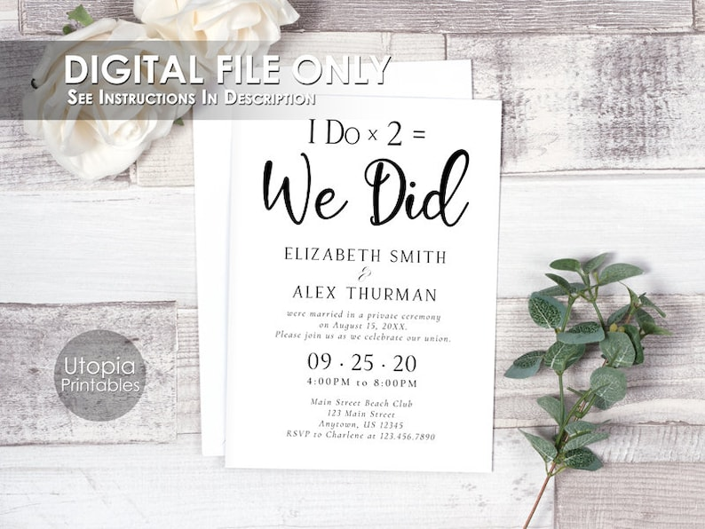 Printable I Do Times 2  We Did Elopement Announcement Wedding image 0