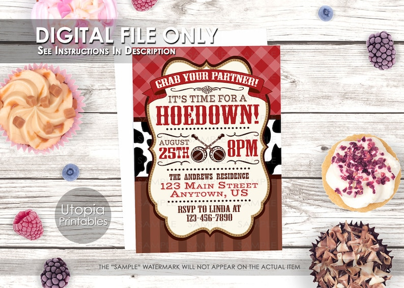 Hoedown Invitation Rustic Country Western or Southern Theme image 0