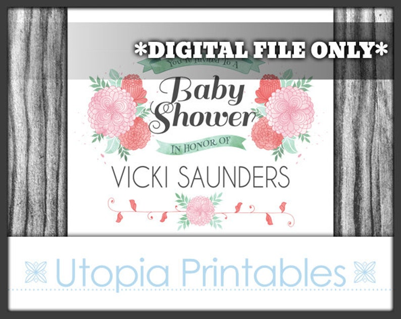 Blush Pink Watercolor Flowers Baby Shower Invitation Pink Mint image 0
