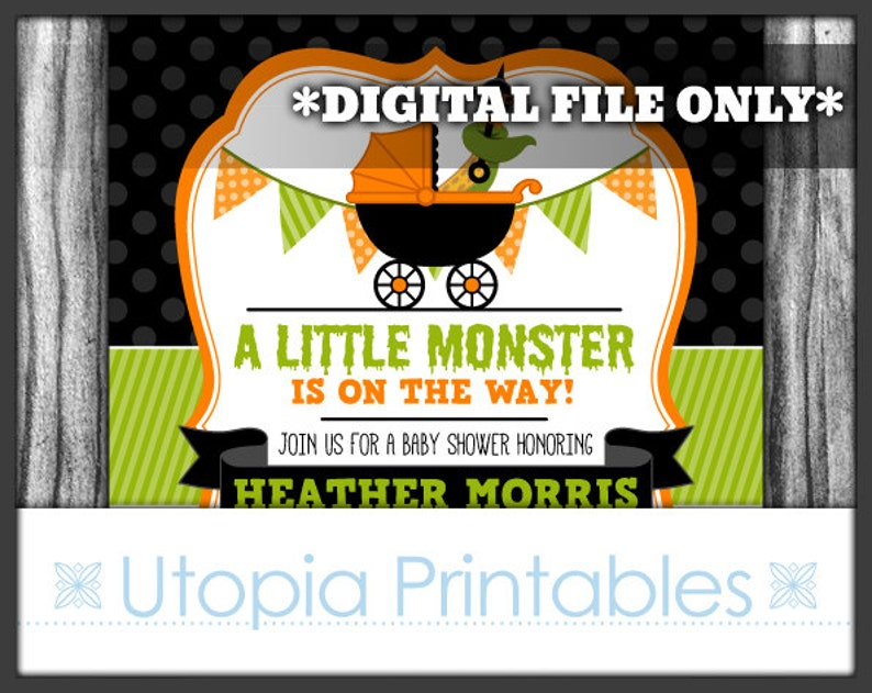 A Little Monster Is On The Way Halloween Baby Shower image 0
