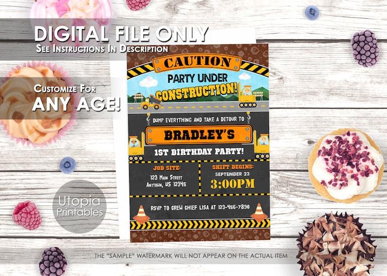 Party Under Construction Birthday Invitation Theme Cute Dump image 0