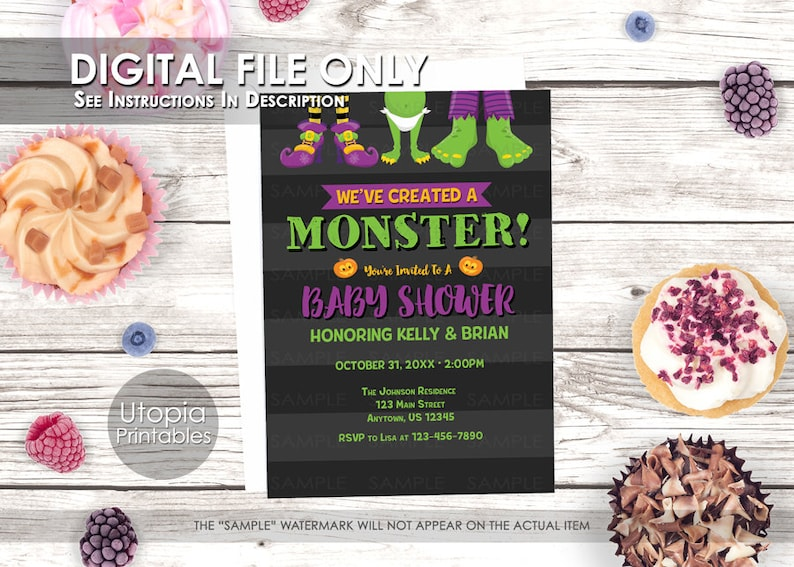 Printable We've Created A Monster Halloween Baby Shower image 0